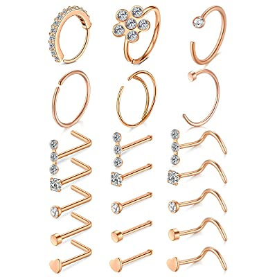 Hanpabum 15 PCS 20G Stainless Steel Nose Studs Nose Hoop Rings for Women Men Screw Shaped CZ Nose Piercing Jewelry