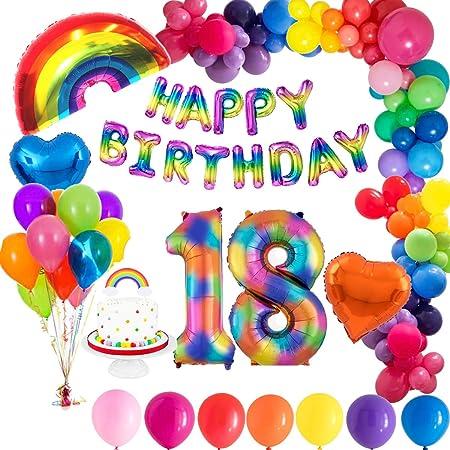 MMTX Globo de Cumpleaños 18 Años con Happy Birthday Globo Bandera, Número 18 Frustrar Globo, Arco Iris Corazón Globo para Revelación de género Niñas niño Mujeres: Amazon.es: Hogar