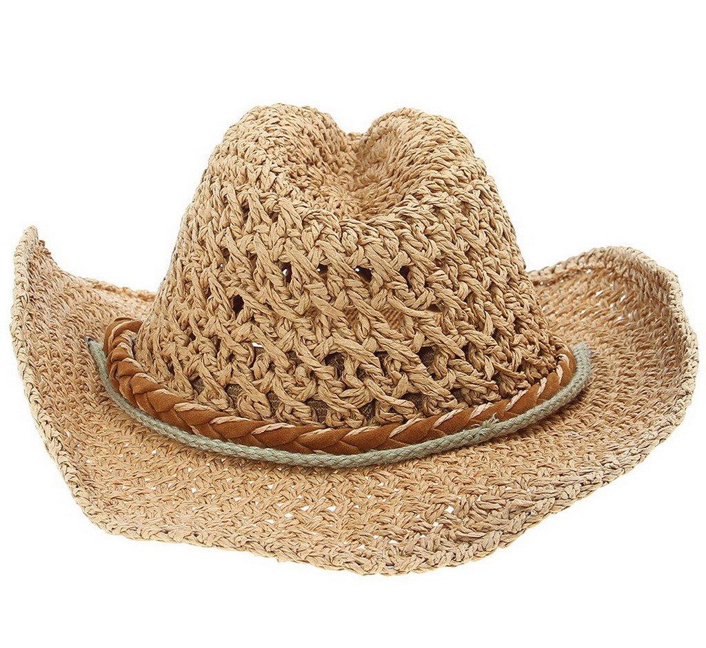Bigood Girls kids Summer Adjust Straw Knitting Hollow out Wide Brim Beach Sun Hat Brown