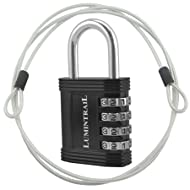 """Lumintrail Combination Padlock w/ 4' Braided Steel Security Cable - 4 digit lock 1"""" shackle (assorted colors 1-2 pack) (1-Lock, Black)"""