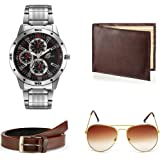 Arum Analogue Black Dial Men Watch Combo with Brown Wallet & Sunglass with Belt - AWWSGB-053