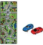 Learning Carpets Mapa gigante de carreteras Playset incluye 2 coches de colores variados