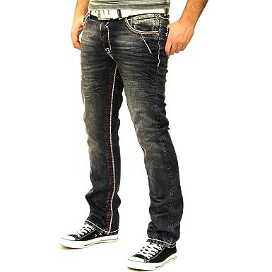 1881584bc85b Rusty Neal NEON-NAHT Kontrast Naht Slim Jeans Hose Used Blau Denim 8323-31  ROT  Amazon.de  Bekleidung