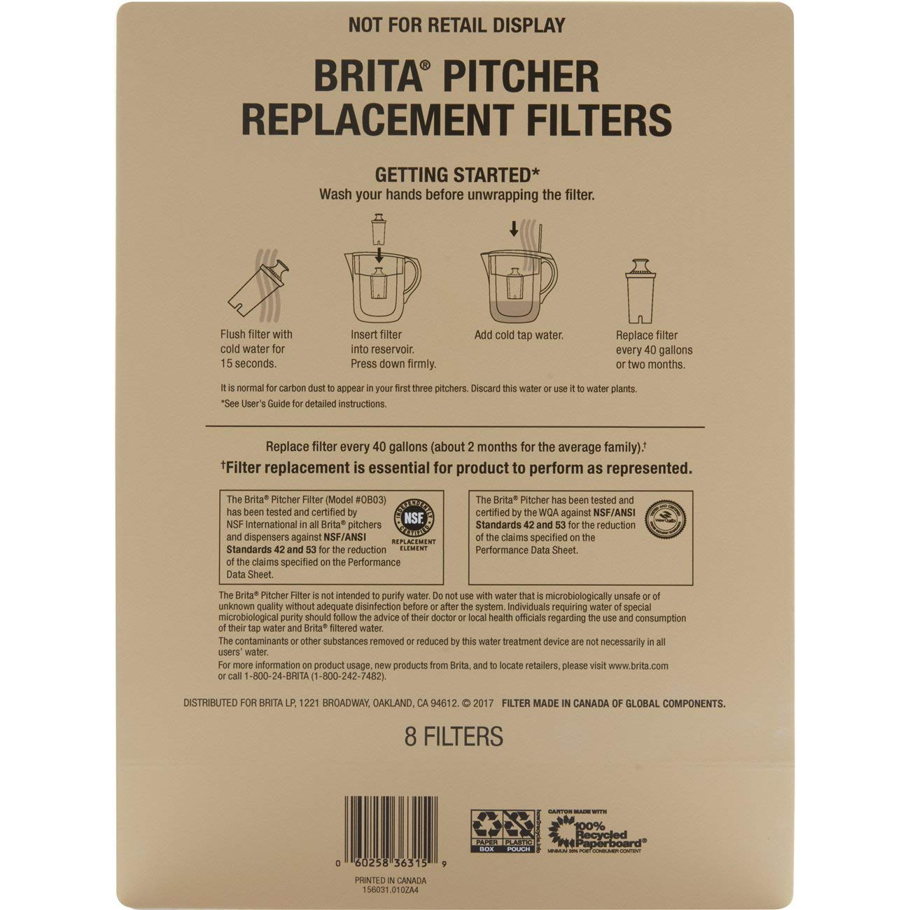 Brita Standard Water Filter, Standard Replacement Filters for Pitchers and Dispensers, BPA Free - 8 Count by Brita (Image #7)
