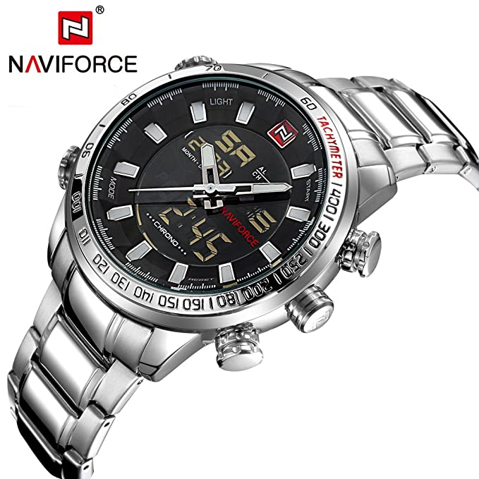 Amazon.com: NAVIFORCE 9093 (Silver White) Men Sports Waterproof Stainless Steel Pointers And LED Display Quartz Watch: Watches