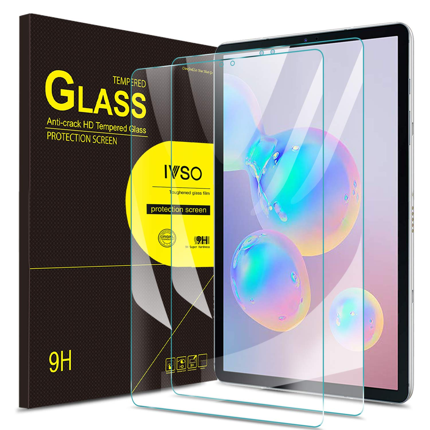 IVSO Screen Protector for Samsung Galaxy TAB S6/S5e,No-Bubble HD Clear Tempered Glass Screen Protector for Samsung Galaxy Tab S5e SM-T720 (Wi-Fi) SM-T725 (LTE) SM-T860 10.5 inches 2019 Release Tablet