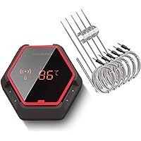Inkbird IBT-6XS Draadloze Bluetooth BBQ Thermometer, Digitale Vleesthermometer voor Smokers met 6 Probes,USB Oplaadbare…
