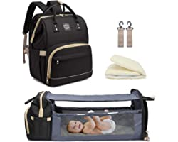 Diaper Bag Backpack with Travel Bassinet,Detachable Foldable Baby Bed for Bady Toddler, 3 in 1 Nappy Bag Changing Station, Tr