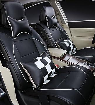 Opall Juego completo 10 piezas de piel sintética bordada para asientos delanteros y traseros de coche