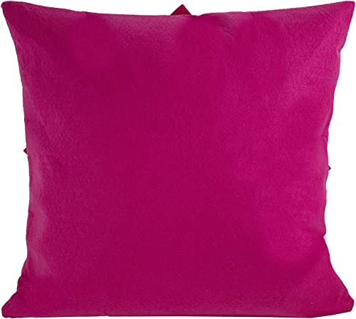 Fennco Styles Sara s Garden Collection Contemporary Felt Dahlia Petal 17 x 17 Inch Fuchsia Throw Pillow for Couch, Bedroom and Living Room D cor