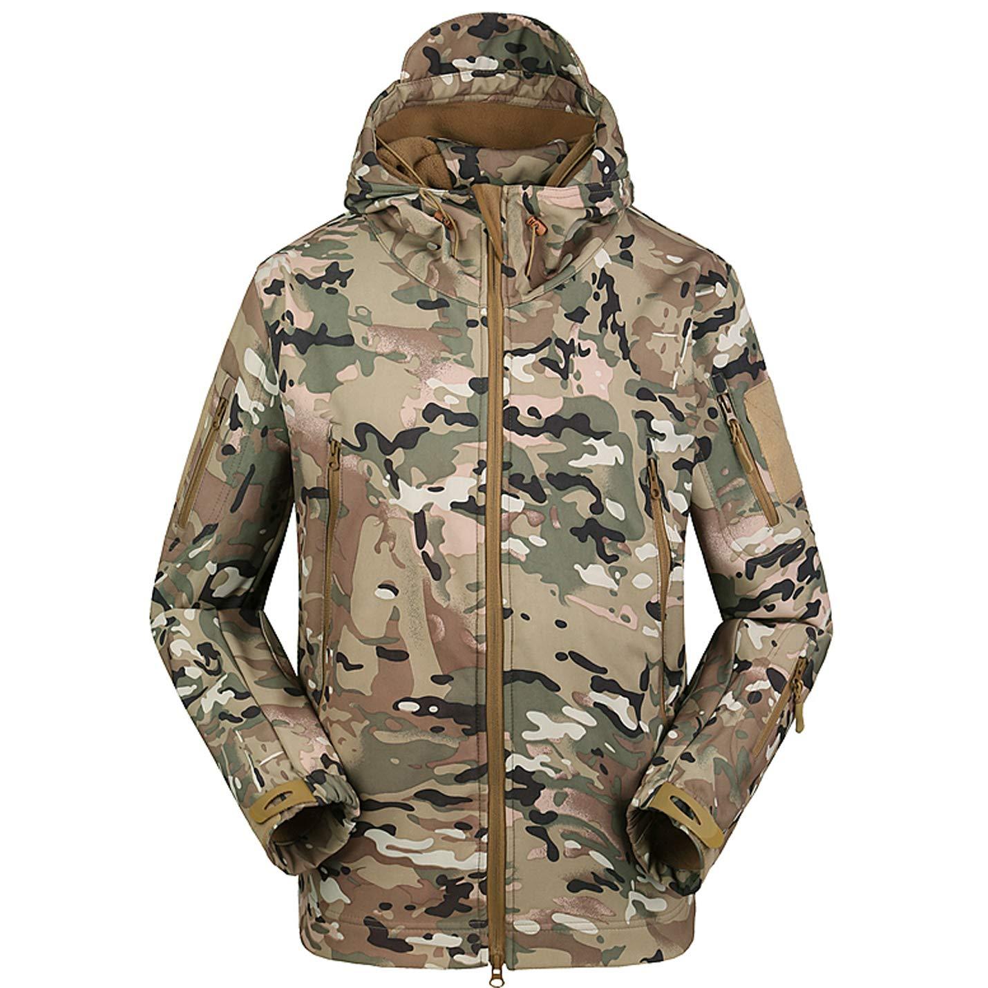 Flygo Men's Men's Tactical Camouflage Hooded Outdoor Fleece Coat Softshell Jacket (Pc, Large)