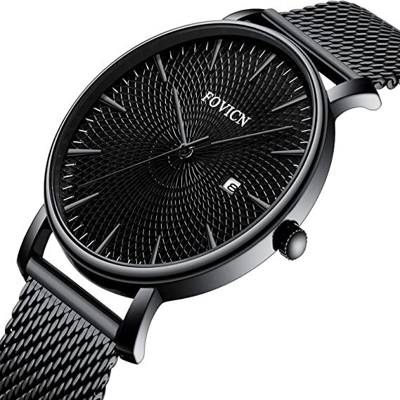 Amazon.com: Mens Watch Deep Black Ultra Thin Wrist Watches for Men Fashion Waterproof Dress Stainless Steel Band: Watches