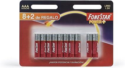 Fonestar - Pack de 10 Pilas lr03 1.5v alcalina AAA: Amazon.es: Informática