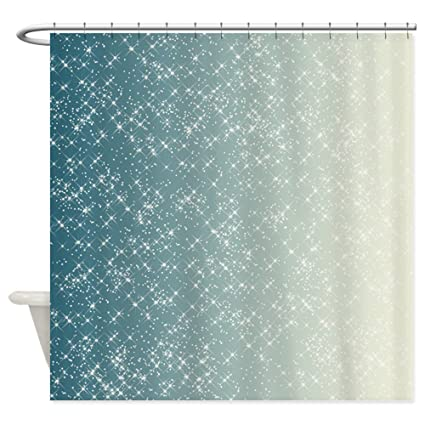 Image Unavailable Not Available For Color CafePress Teal And White Sparkles Decorative Fabric Shower Curtain