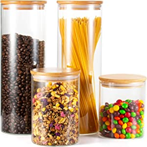 Glass Jar with Lid, Set of 4, TAOUNOA Food Storage Jars, Glass Jar Set for Pasta, Oatmeal, Flour, Coffee Beans, Candies, Cookies