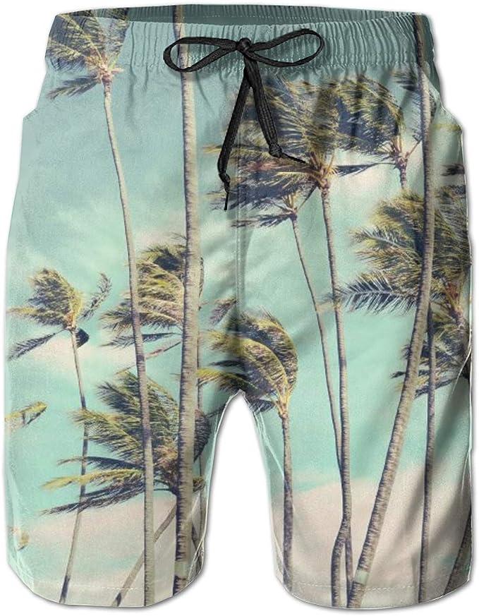 Palm Tree Hawaii Sunset Mens Swimming Trunks Beach Board Shorts Pocket Waterproof Workout Short Pants Beachwear