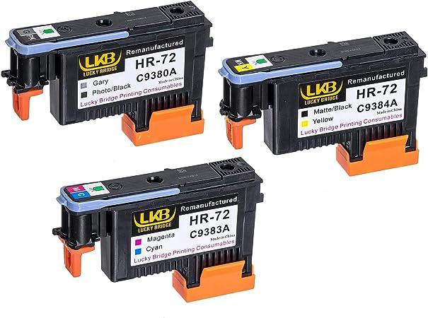 LKB 1 Set HP72 Cabezales de impresión remanufacturados C9380A C9383A C9384A Chips actualizados compatibles con HP Designjet T610 T620 T770 T790 T1100 T1120 1200 T1300 T2300 (1MK/Y+1C/M+1PK/G)-US: Amazon.es: Oficina y papelería