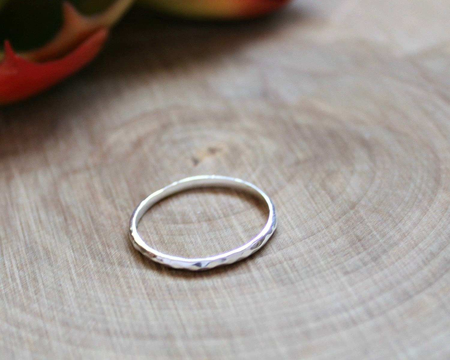9 Sterling Silver Jewelry Gift EFYTAL Dainty Hammered Stackable Ring
