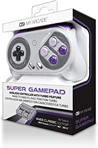 My Arcade Super Gamepad - Wireless Gaming Controller for Nintendo SNES Classic, NES Classic, Super Famicom, Wii, Wii U (Super NES Colors)