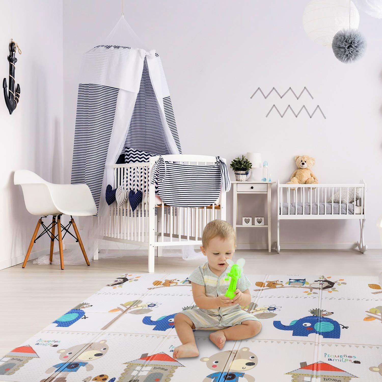 B/är Wasserdicht Bamny Babymatte Spielmatte Baby Puzzlematte Faltbarer Krabbelmatte XPE-Schaumboden Doppelseiten spielbar Rutschfest BPA Frei 200 * 180 * 1cm