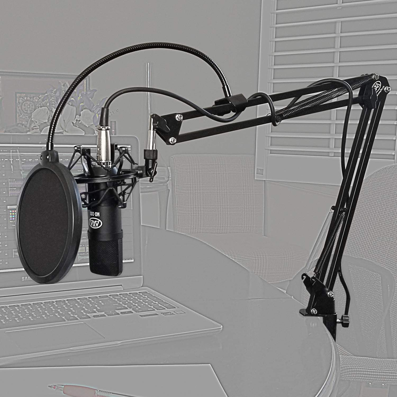 AxcessAbles MX-100 Professional Cardioid Studio Condenser XLR Mic with Desktop Tripod Stand Studio Recording /& Broadcasting Swivel Boom Desktop Mount Arm and Pop Filter Shock Mount