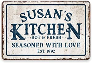 WDSLSING Personalized Vintage Distressed Look Kitchen Seasoned with Love Room Sign|Kitchen Sign Decor| Kitchen Pictures