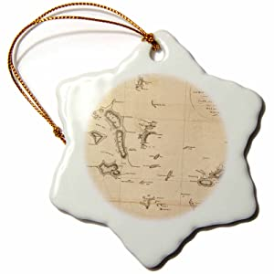 3dRose orn_79332_1 Antique Map of Galapagos Islands-Vintage Art-Snowflake Ornament, Porcelain, 3-Inch