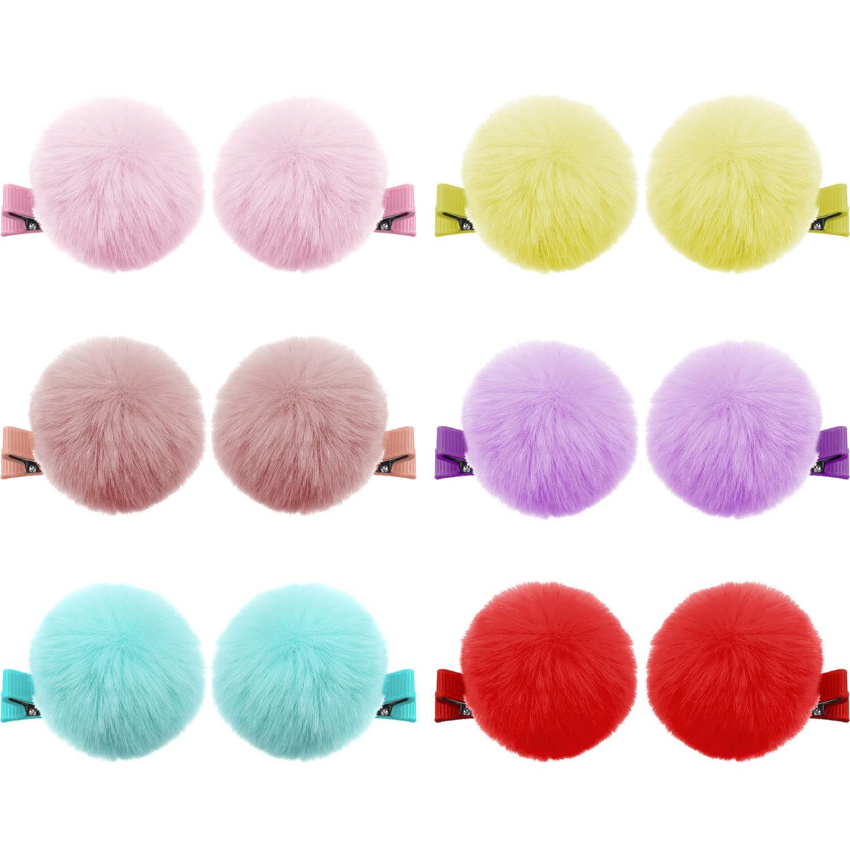 Baby Girls Korean Style Fur Ball Hair Clip Pin Hairpins Cute Fluffy Clip LH
