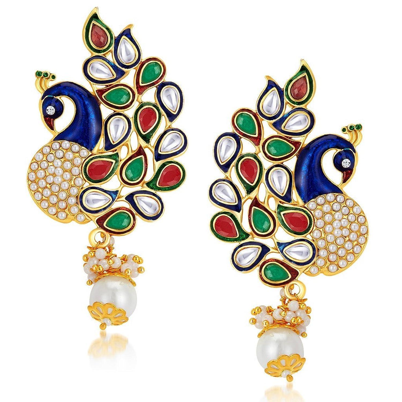 Buy Sukkhi Gold Plated Australian Diamond Dangle & Drop Earring ...