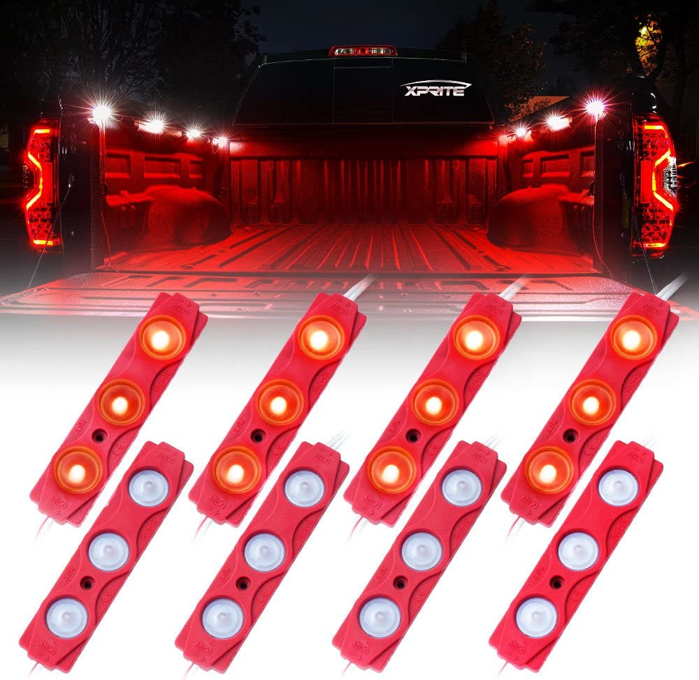 24 LEDs Cargo Truck Pickup Bed 8 PCs Foot Wells Side Marker LED Rock Lighting Kit w//Switch Red Xprite Led Rock Light for Bed Truck Under Car Rail Lights