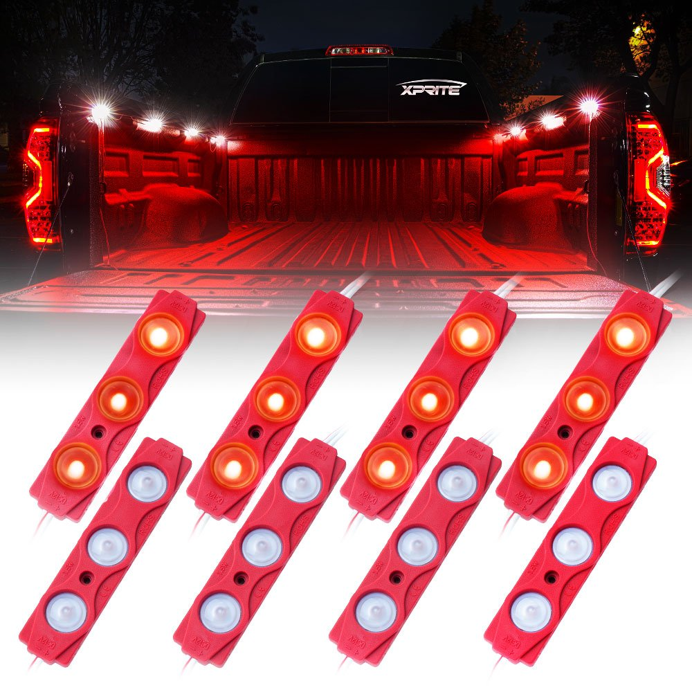 Xprite Led Rock Light for Bed Truck, 24 LEDs Cargo Truck Pickup Bed, Off Road Under Car, Foot Wells, Rail Lights, Side Marker LED Rock Lighting Kit w/Switch Blue - 8 PCs DL-001-L3-B