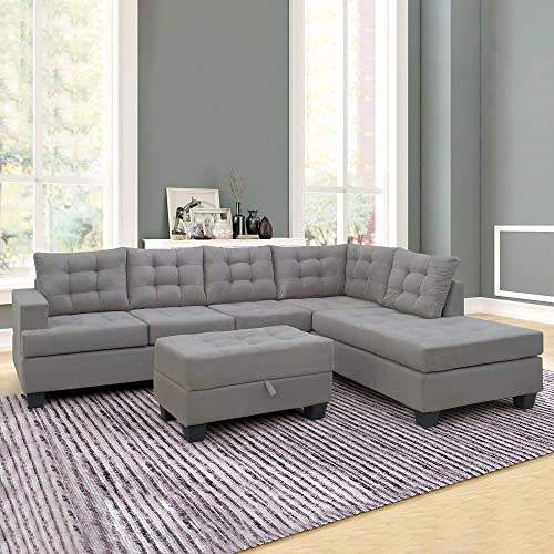 Romantlink 3 Piece Sectional Sofa with Chaise Lounge Storage Ottoman Living Room Furniture Sofa Gray