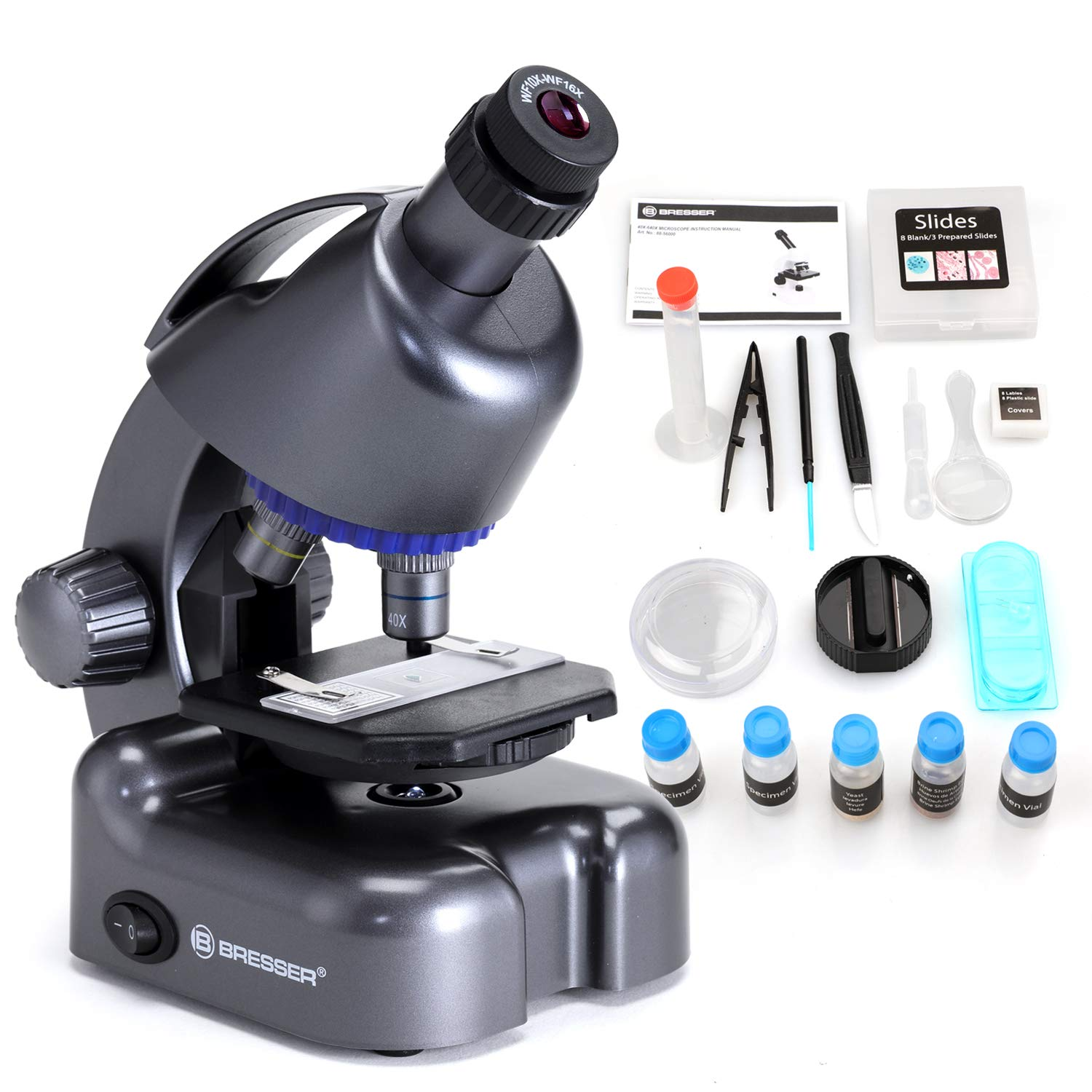 USCAMEL Bresser Kids Microscope Kit 40x-640x Magnification Compound Monocular Beginner Set for Student with Microscope Slides and Coverslips(Black) by USCAMEL