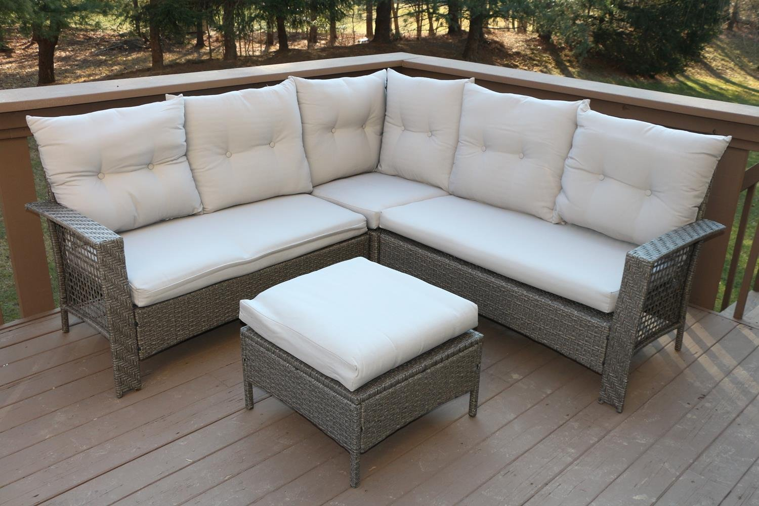 Amazon.com: Oliver Smith   Large 4 Pc High Back Rattan Wiker Sectional Sofa  Set Outdoor Patio Furniture   Aluminum Frame With Ottoman   9514 Beige:  Kitchen ...