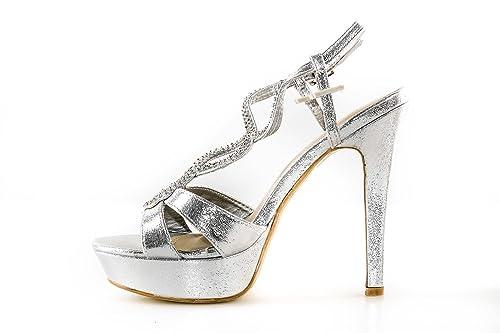big sale 68cd5 24497 Scarpe donna cerimonia G. VENTURI sandalo plateau argento con strass N.39  X3265
