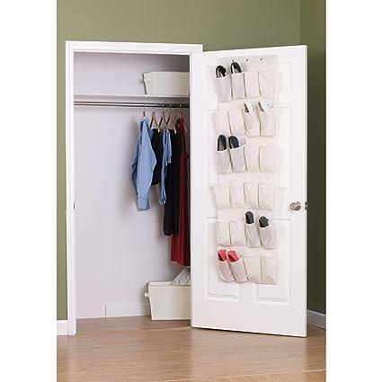 ee74fbbb0bfbf Amazon.com: Household Essentials Over The Door 24 Packet Shoe Storage  Organizer, Natural Canvas: Home & Kitchen