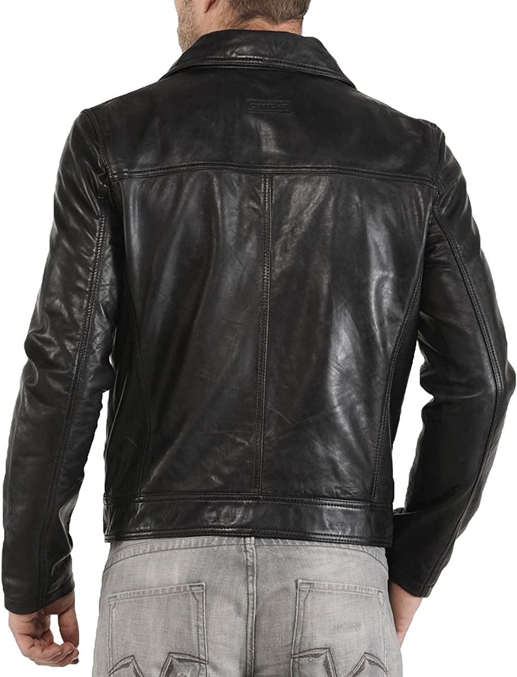 New Men Designer Genuine Lambskin Soft Biker Leather Jacket T1076