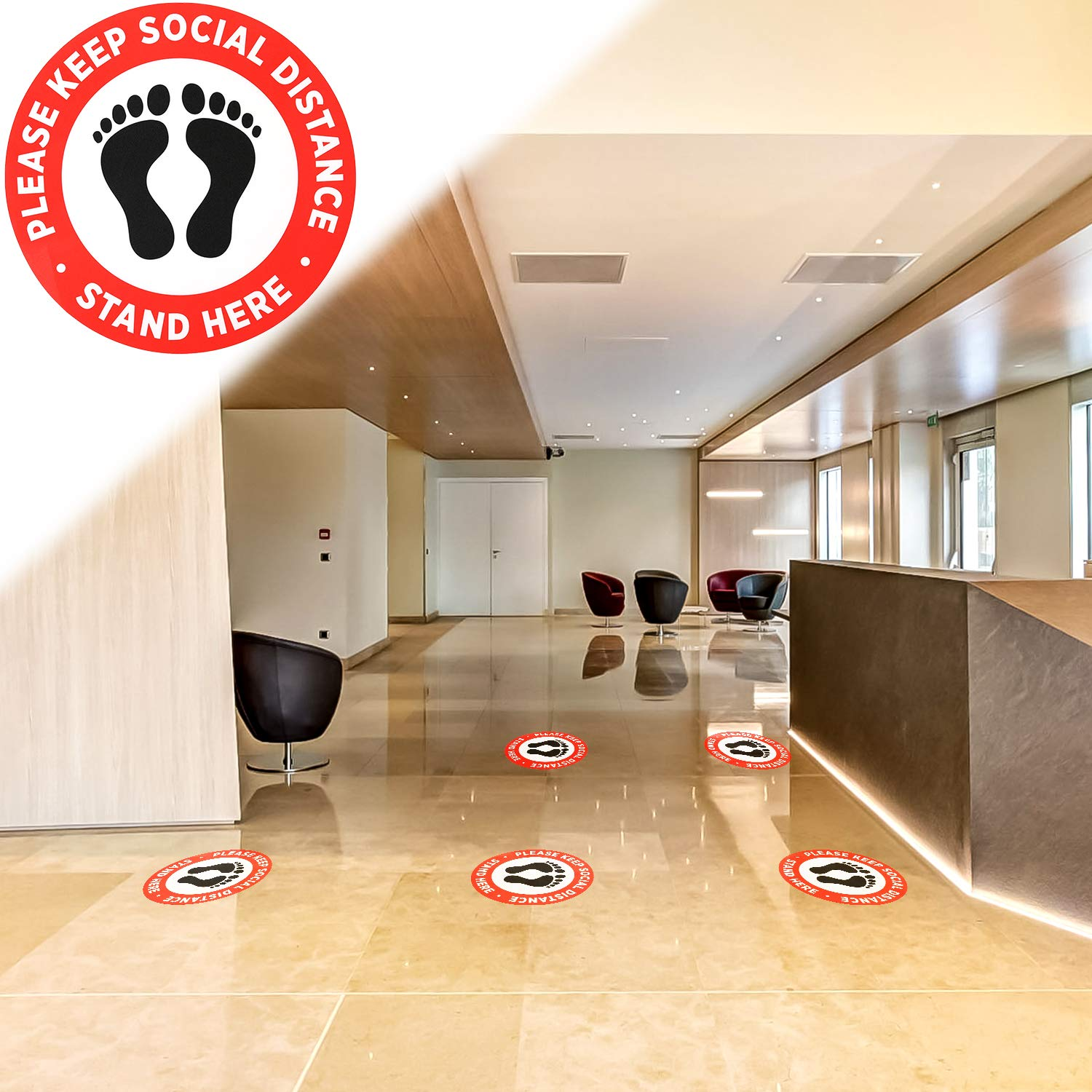 Schools Stand Stickers Super Markets 10 Pack 11.8 inches Round Waterproof Anti-Slip Removable Floor Signs for Crowd Guidance Control LUTER 6 Feet Stickers Social Distancing Floor Decals Banks