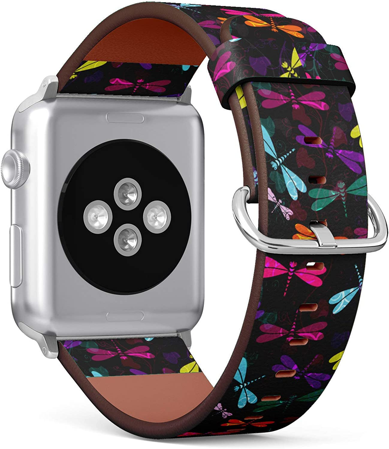 (Vintage Pattern with Colorful Dragonflies and Translucent) Patterned Leather Wristband Strap for Apple Watch Series 4/3/2/1 gen,Replacement for iWatch 42mm / 44mm Bands