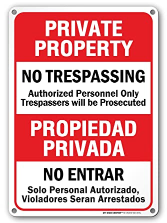 Amazon.com: Propiedad Privada no TRESPASSING Warning ...
