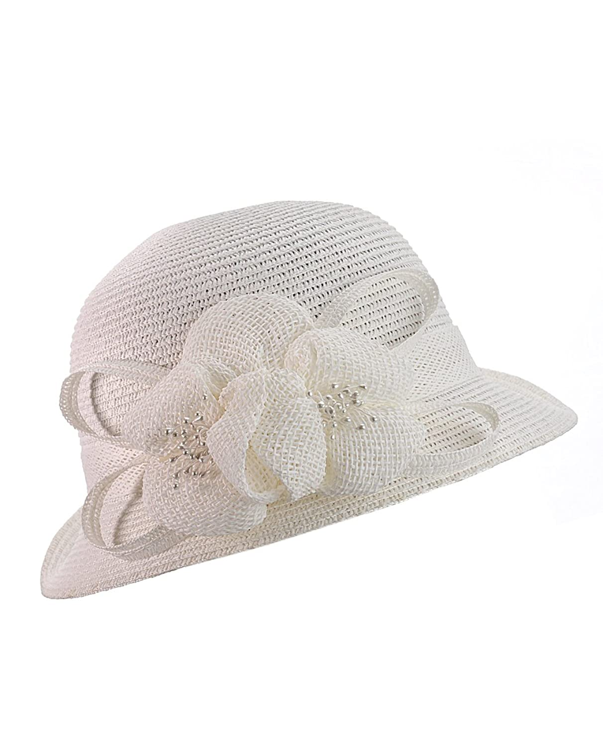 Cloche Bucket Hat w/ Woven Flower & Ribbon Accent $10.74 AT vintagedancer.com