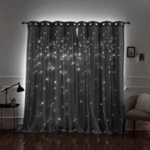 """Aurora Home Star Punch Tulle Overlay Blackout Curtain Panel Pair Dove 52"""" W X 63"""" L 63 Inches"""