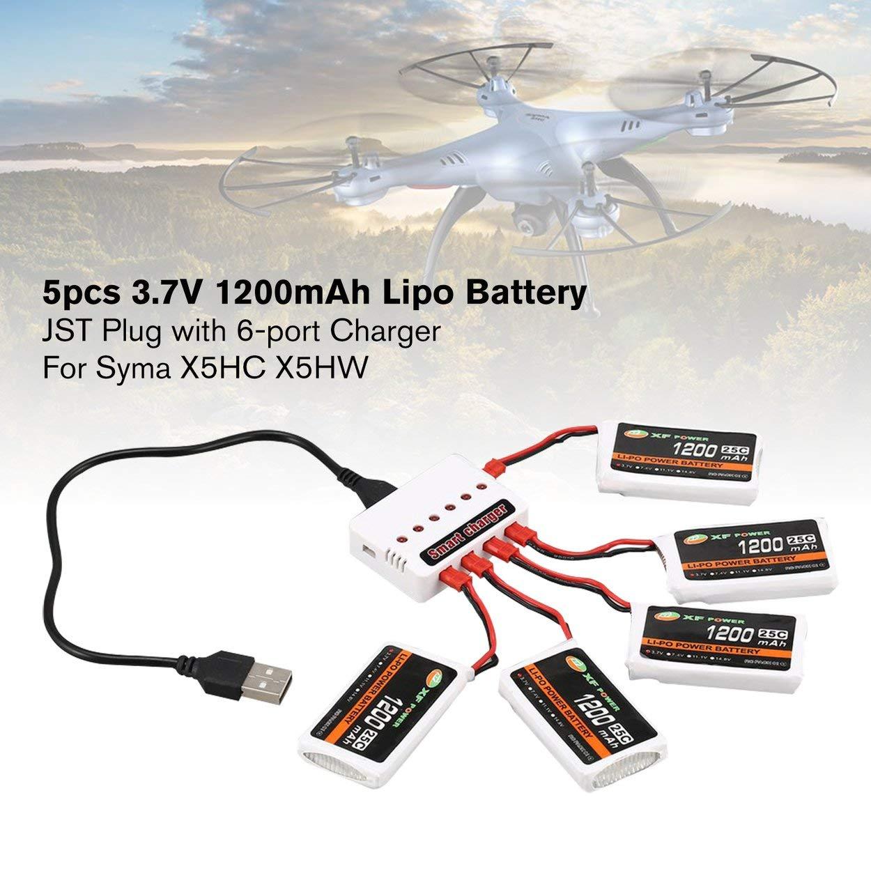 Relabouting 5pcs XF Power 3.7V 1200mAh 25C Lipo Batería JST Plug ...