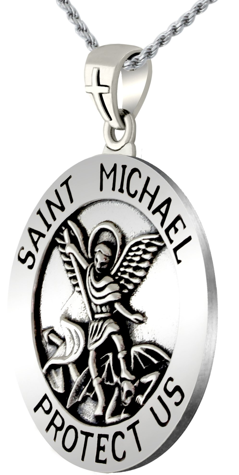 US Jewels And Gems 1.25in 0.925 Sterling Silver St Saint Michael Medal Round Pendant Necklace