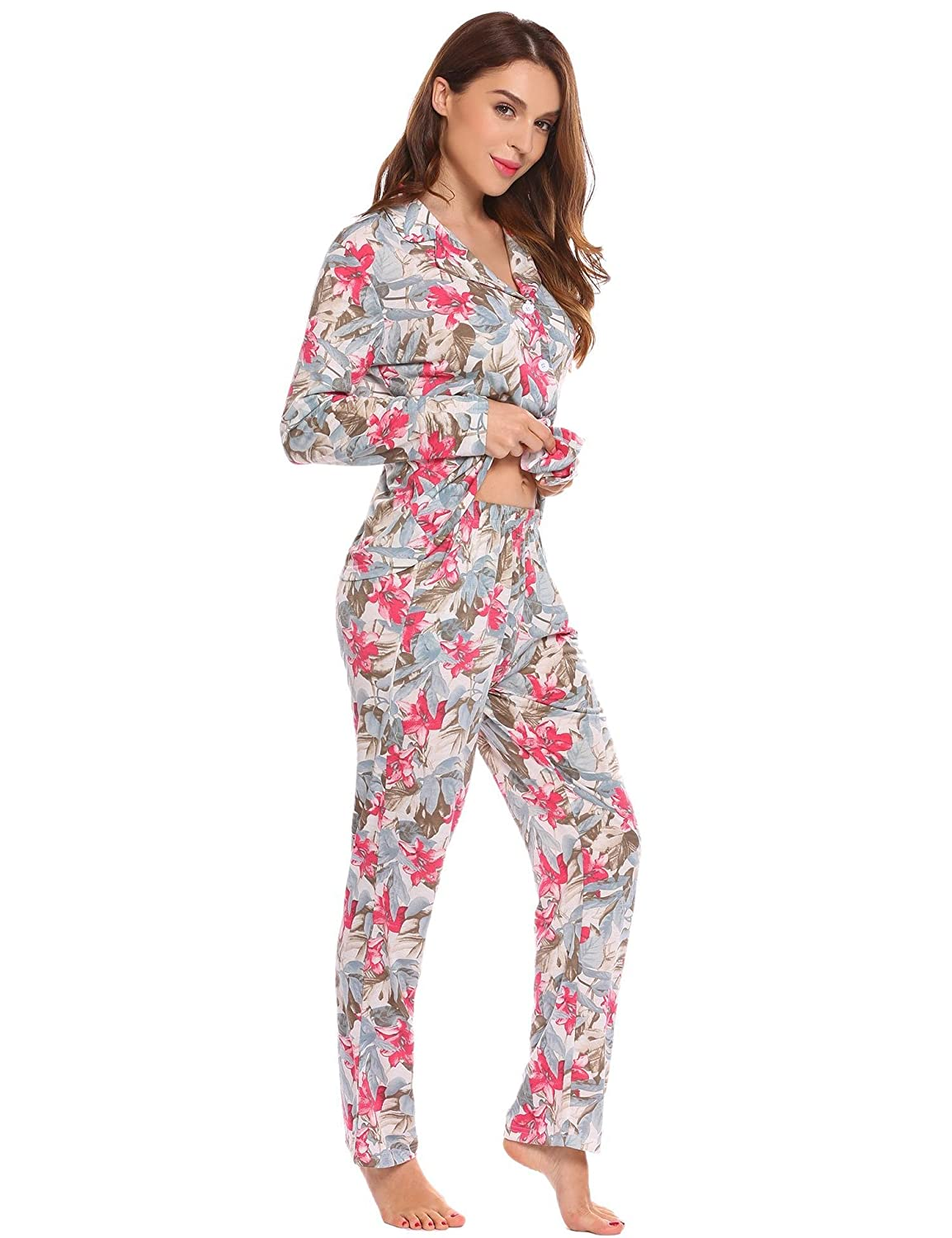 Ekouaer Women s Comfy Floral Print Long Sleeves Floral Pajamas Set Sleepwear  Tops and Pants S-XXL at Amazon Women s Clothing store  f2e7502b7