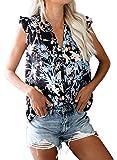 Actloe Womens Floral Print V Neck Tank Tops Casual Ruffle Summer Sleeveless Shirts Blouses
