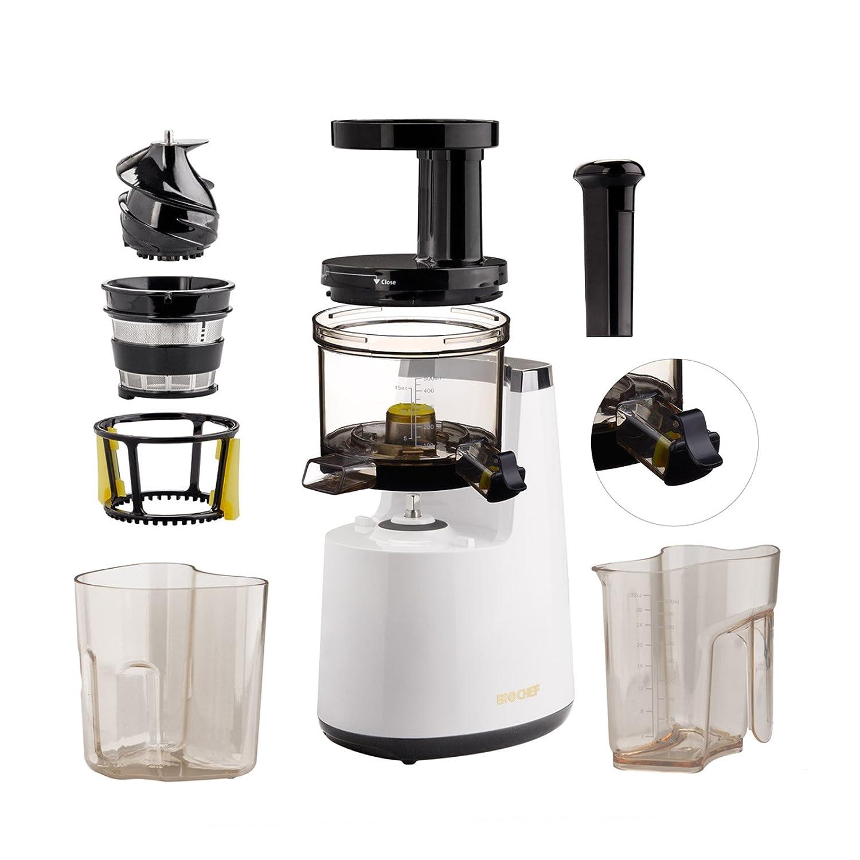 BioChef Atlas – Extractor de zumos COLD PRESS, Slow Juicer, licuadora en frío. 150W y 65 RPM. Garantía DE POR VIDA en el motor. (Gris Acero)