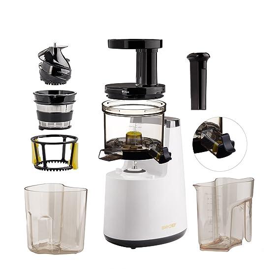 BioChef Atlas – Extractor de zumos COLD PRESS, Slow Juicer, licuadora en frío. 150W y 65 RPM. Garantía DE POR VIDA en el motor. (Negro)