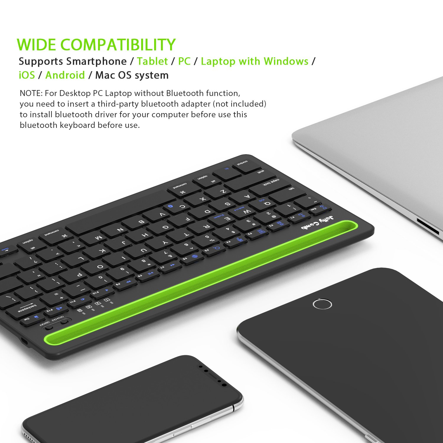Bluetooth keyboard, Jelly Comb BK230 Dual Channel Multi-device Universal Wireless Bluetooth Keyboard Rechargeable with Sturdy Stand for Tablet Smartphone PC Windows Android iOS Mac (Black and Green) by Jelly Comb (Image #6)