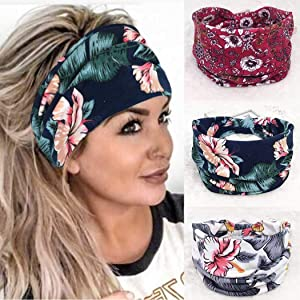 Cagora Boho Bandeau Headbands Wide Knot Hair Scarf Floral Printed Hair Band Elastic Turban Thick Head Wrap Stretch Fabric Cotton Head Bands Thick Fashion Hair Accessories for Women and Girls 3 Pcs (Foral)